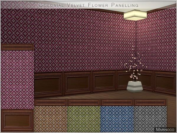 The Sims Resource: Colonial Velvet Flower Panelling by Marinoco