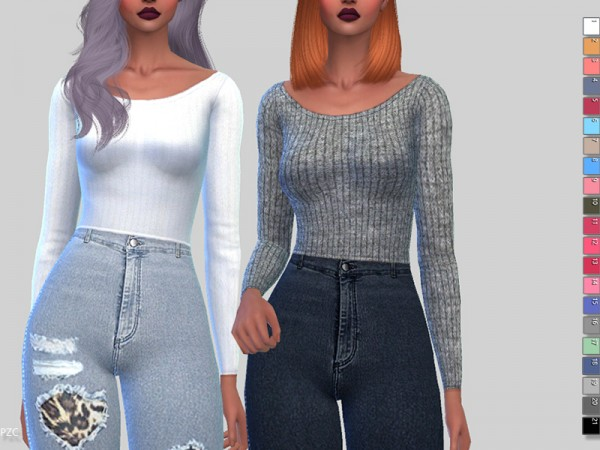 The Sims Resource: Winter Soft Ribbed Sweater by Pinkzombiecupcakes