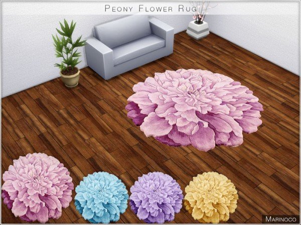 The Sims Resource: Peony Flower Rug by Marinoco