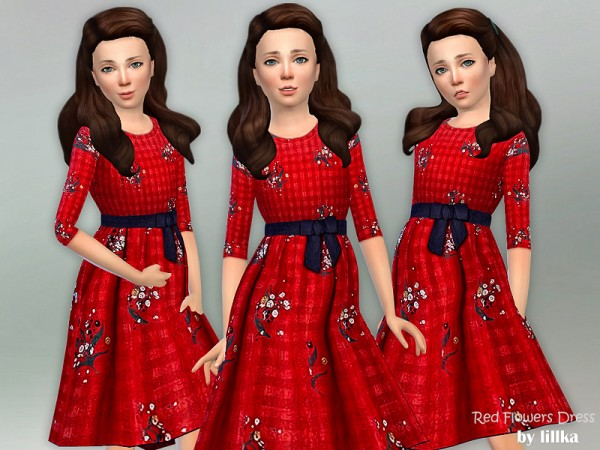 The Sims Resource: Red Flowers Dress by lillka