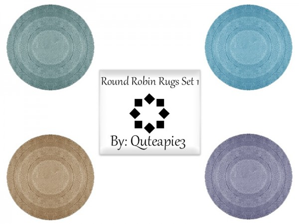 The Sims Resource: Round Robin Rug Set by Quteapie3