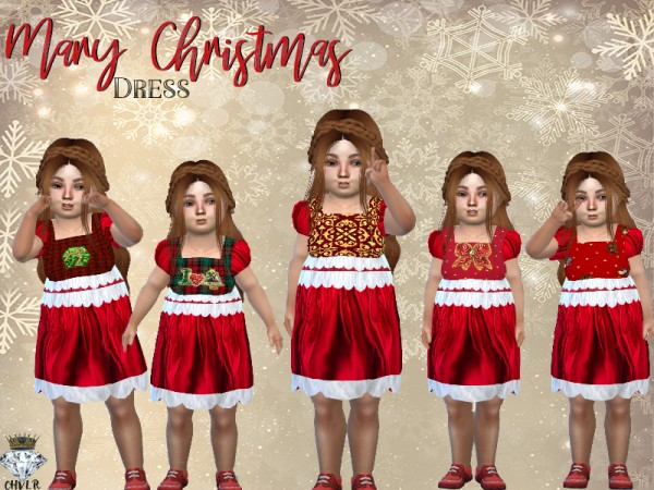 The Sims Resource: Mary Christmas Toddler Dress by MadameChvlr