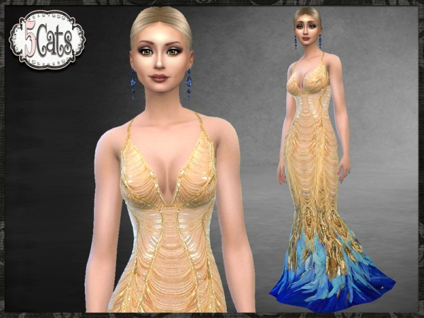 The Sims Resource Met Gala Gold Feather Gown By Five5cats