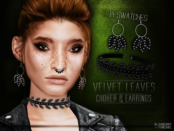 The Sims Resource: Velvet Leaves Choker and Earrings by Blahberry Pancake
