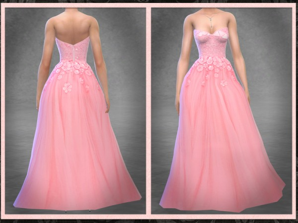 The Sims Resource: Floral Encrusted Tulle Ball Gown by Five5Cats