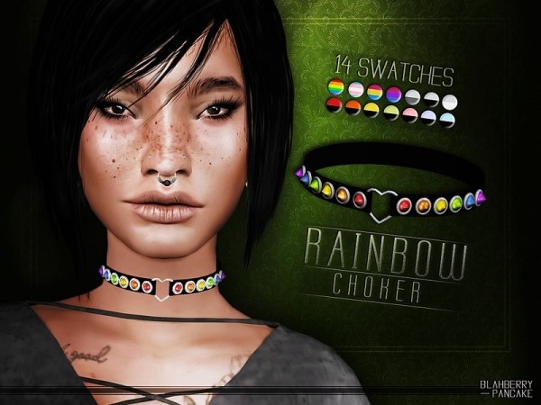 The Sims Resource: Rainbow Choker by Blahberry Pancake