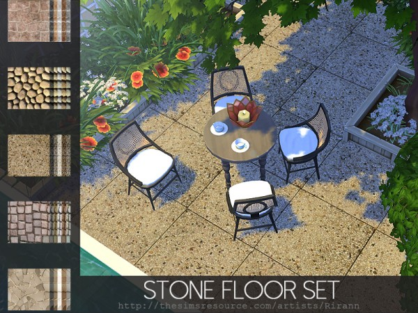 The Sims Resource: Stone Floor Set by Rirann
