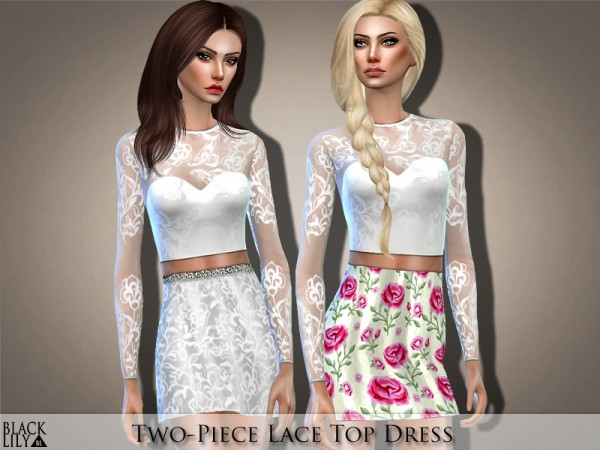The Sims Resource: Two Piece Lace Top Dress by Black Lily