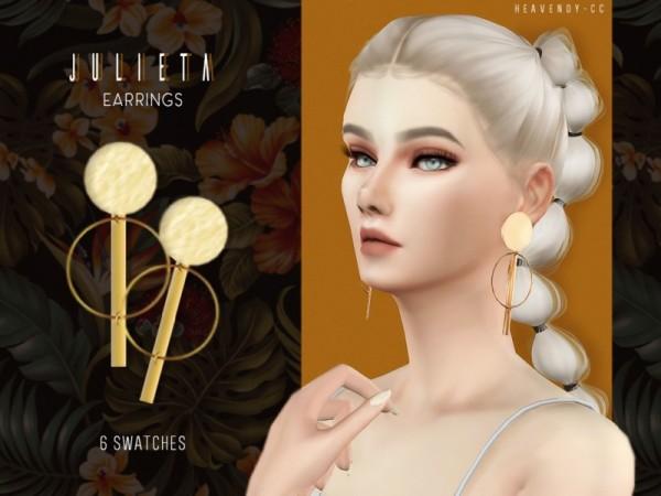 The Sims Resource: Julieta Earrings by Heavendy cc