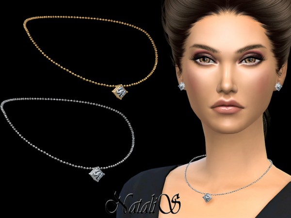 The Sims Resource: Princess cut pendant necklace by NataliS