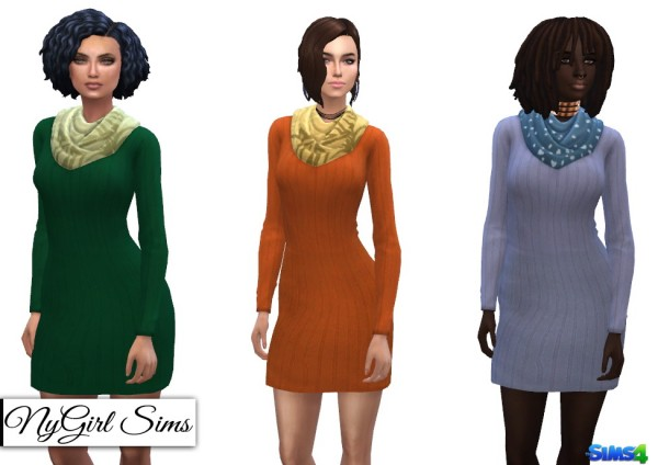 NY Girl Sims: Sweater Dress with Scarf