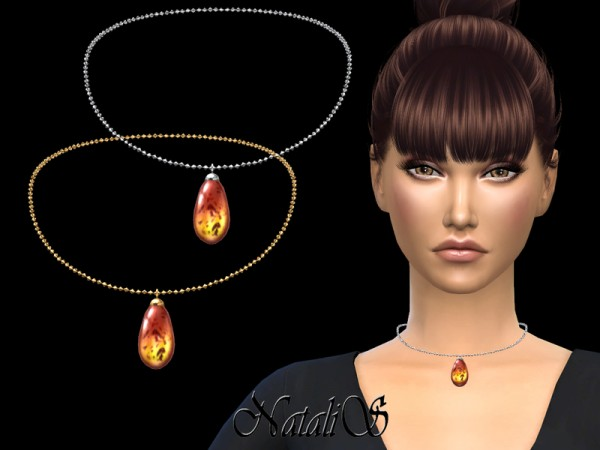 The Sims Resource: Amber pendant necklace by NataliS