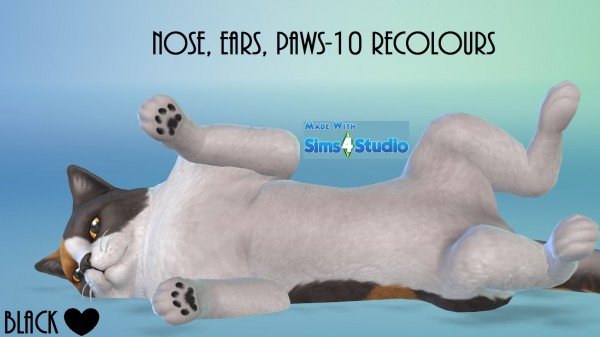 Mod The Sims: Cats and Dogs Nose, Ears and Paws 10 Recolours by wendy35pearly