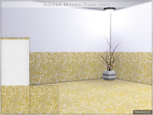 The Sims Resource: Golden Mosaic Tiles by Marinoco