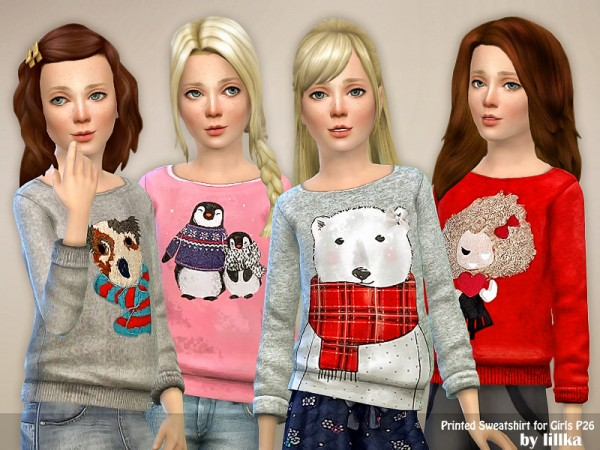 The Sims Resource: Printed Sweatshirt for Girls P26 by lillka
