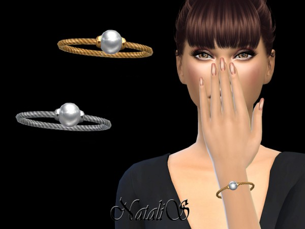 The Sims Resource: Pearl Accented Bangle Bracelet by NataliS
