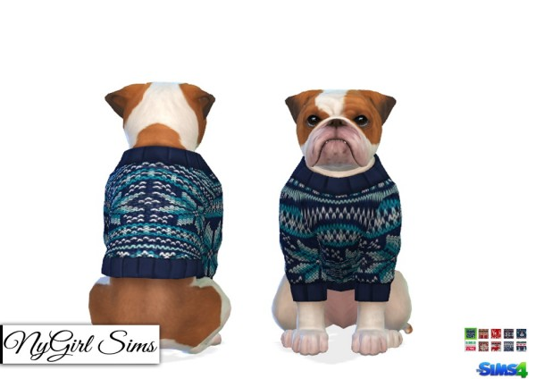 NY Girl Sims: Dogs Knitted Holiday Sweater