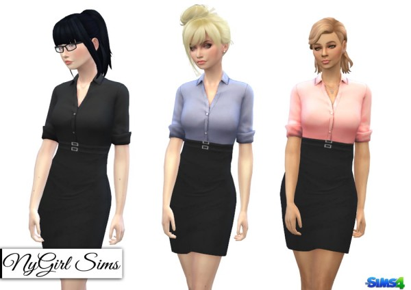 Ny Girl Sims Double Belted Business Dress Sims 4 Downloads
