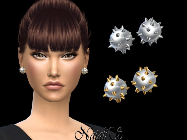 The Sims Resource: Spiked Stud Pearl Earrings by NataliS