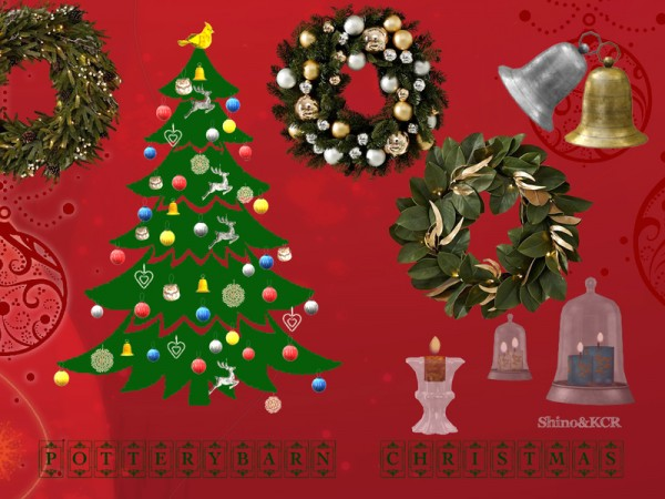 The Sims Resource: Potterybarn Christmas Decor Set by ShinoKCR