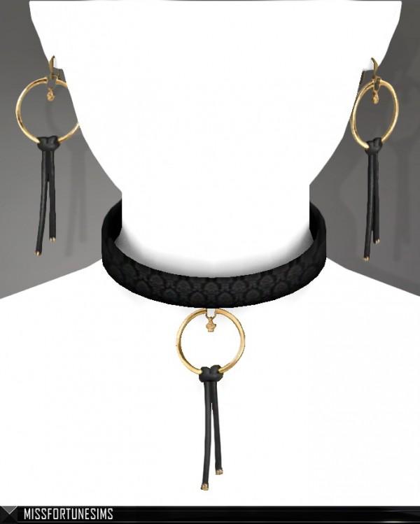 MissFortune Sims: Diletta Earrings and Choker Set