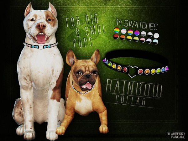The Sims Resource: Rainbow Collar for Big and Small Dogs by Blahberry Pancake