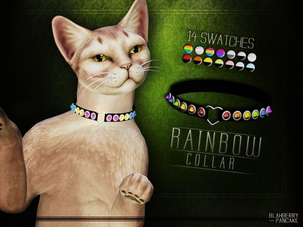 The Sims Resource: Rainbow Collar for Cats by Blahberry Pancake