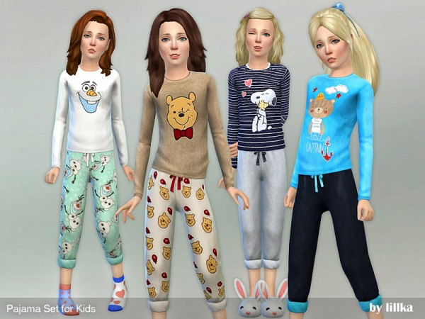 The Sims Resource: Pajama Set for Kids by lillka