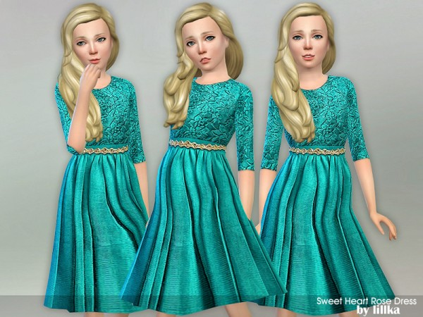 The Sims Resource: Sweet Heart Rose Dress by lillka