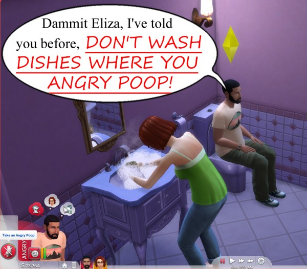 Mod The Sims: Dont Wash Dishes Where You Angry Poop by scumbumbo