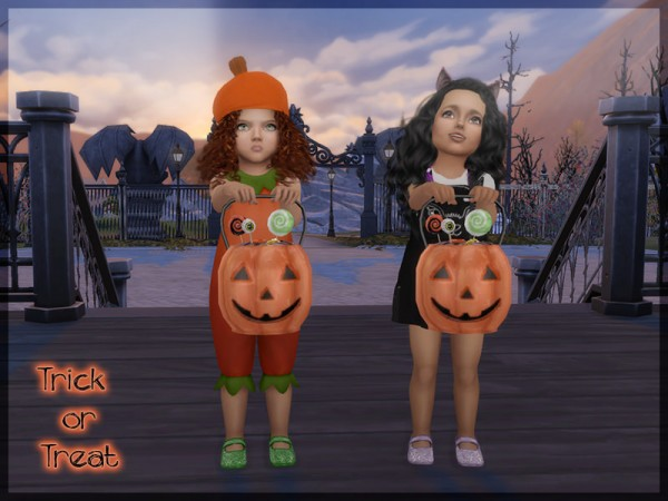 Sims 4 Studio: Pumpkin bucket and pose pack