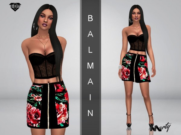 The Sims Resource: Floral Balmain zippered skirt by MartyP