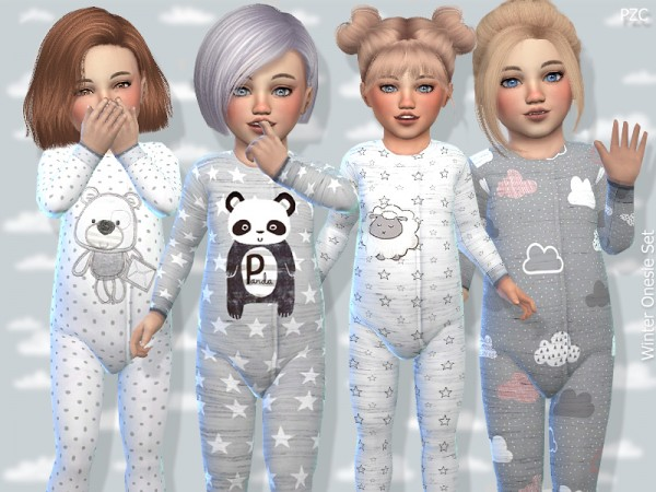 The Sims Resource: Toddler Winter Onesie Set by Pinkzombiecupcakes