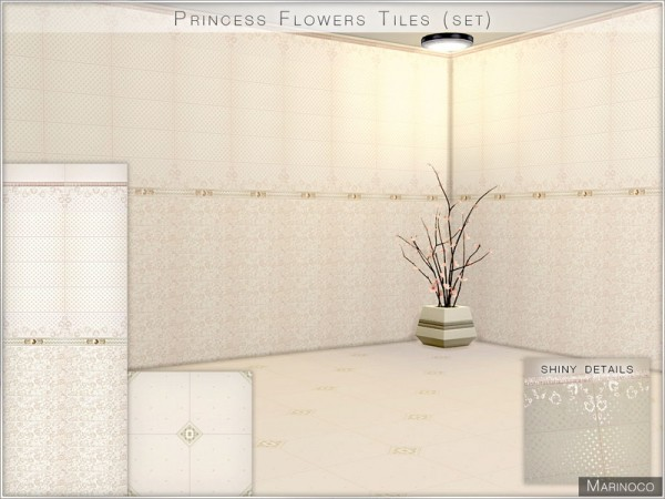 The Sims Resource: Princess Flowers Tiles (set) by Marinoco