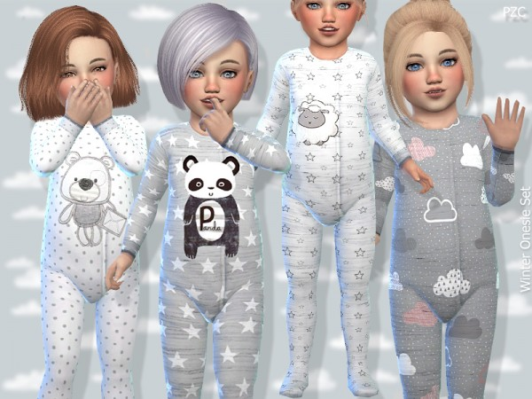 The Sims Resource Toddler Winter Onesie Set By
