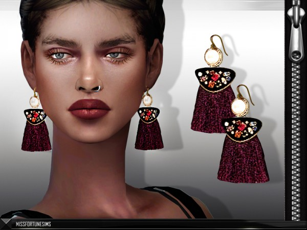The Sims Resource: Shay Earrings by Miss Fortune