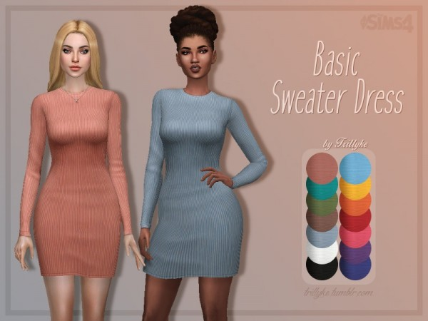 The Sims Resource: Basic Sweater Dress by Trillyke • Sims 4 Downloads