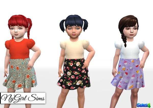 NY Girl Sims: Dress with Printed Skirt