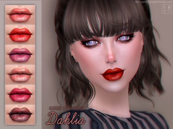 The Sims Resource: Dahlia    Glossy Lip Colour by Screaming Mustard
