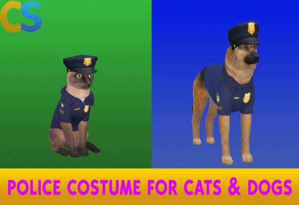 Simsworkshop: Police Costume for Cats and Dogs by cepzid