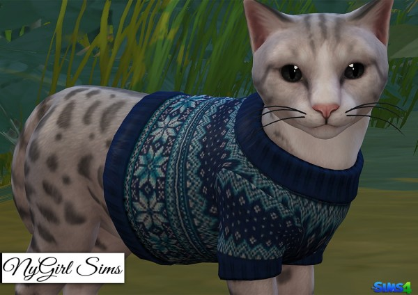 NY Girl Sims: Cats Knitted Holiday Sweater