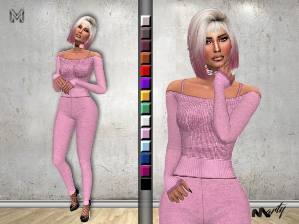 The Sims Resource: Off Shoulder Tricot Jumpsuit by MartyP