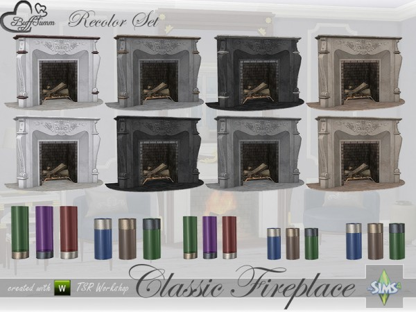 The Sims Resource: Classic Fireplace Set   Recolors by BuffSumm