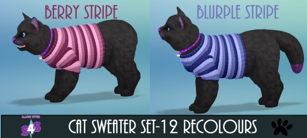 Mod The Sims: Cat Sweater 12 Recolours by wendy35pearly