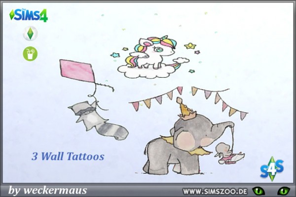 Blackys Sims 4 Zoo: Wall Tattoos 1 by  weckermaus