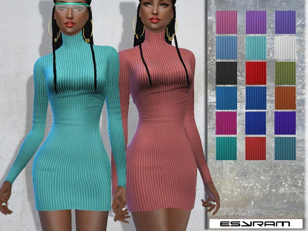 The Sims Resource: Cowl Neck Jumper Dress by EsyraM