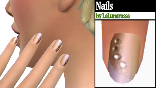 La Luna Rossa Sims: Tiny Rhinestones nails