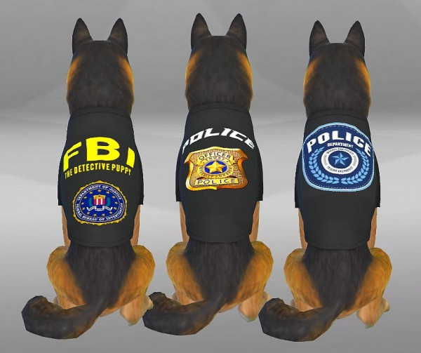 Simsworkshop: Police Clothes for brave Dogs by SimVicio
