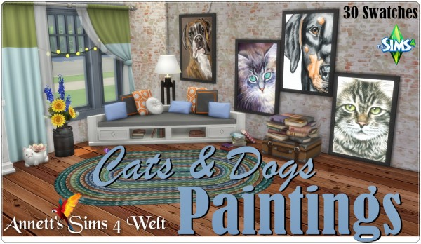 Annett`s Sims 4 Welt: Cats & Dogs Paintings