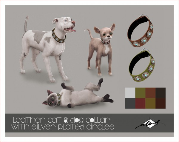 Sims 4 Designs: Leather Cat and Dog Collar with Silver Plated Circles